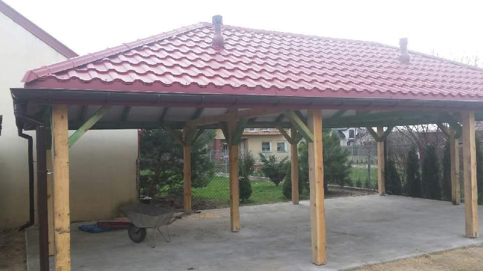 Wykonanie konstrukcji altanki i dwóch miejsc postojowych wraz z przykryciem